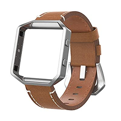 """Fitbit Blaze Bands Leather with Frame Small (5""""- 7.3""""), Swees Genuine Leather Bracelet Strap Replacement Band with Silver Metal Frame For Fitbit Blaze Smart Fitness Watch Women(Black, Red, Brown)"""