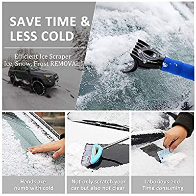 Car Ice Scraper for Windshield (2 Pack),Magic ice Scraper for car with Foam Handle, Heavy-Duty Frost Snow Ice Removal for Windows, Scratch-Free, Use in All Winter Conditions, Works Best on Any Vehic: Automotive