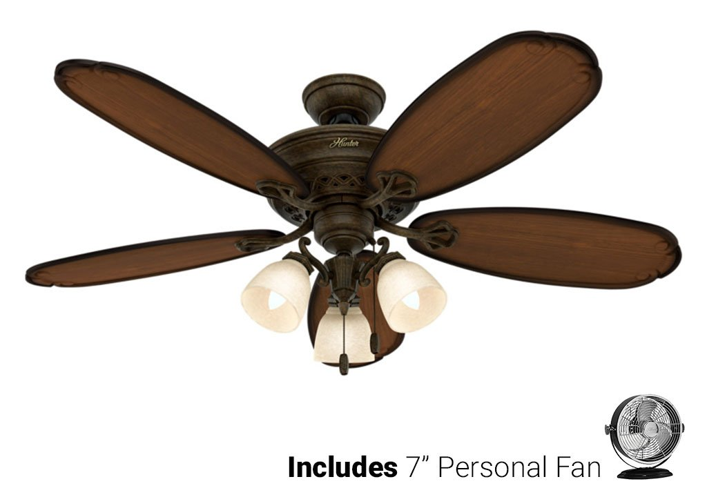 Hunter Ceiling Fan Gold 54015 Crown Park 54'' with Light, Tuscan Gold (Desk Fan Included)