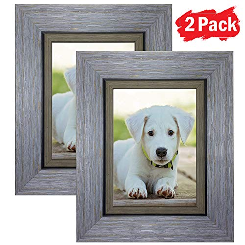 DY Frame 5x7 Picture Frame Retro Blue Rustic Home or Office Decor | Vertical or Horizontal Tabletop Stand or Wall Mounting | Baby, Pet, or Family Photos, ()