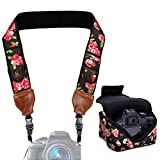 Neoprene Camera Strap and Camera Case Floral with Quick Release Buckles and Accessory Storage Pockets by USA Gear - Works with Canon, Fujifilm, Nikon, Olympus, Sony and More Cameras