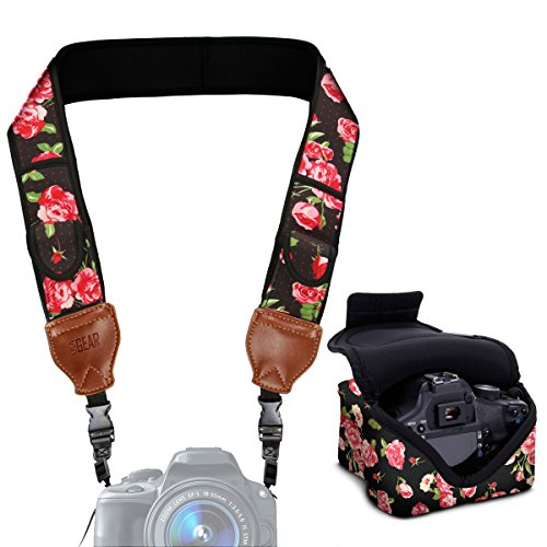 Neoprene Camera Strap and Camera Case Floral with Quick Release Buckles and Accessory Storage Pockets by USA Gear - Works with Canon , Fujifilm , Nikon , Olympus , Sony (Usa Gear)