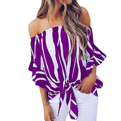 FengGa Womens Off Shoulder Tops Fashion Striped Print Bell Sleeve Shirt Casual 3/4 Sleeve Batwing T Shirts Tops -