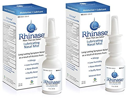 Organic Herbal Mist Throat Spray (RHINASE 2 Pack (2 x300 sprays) Rhinase Saline Nasal Spray with 2 Wetting Agents and 2 Salts Allergy Relief Moisturizer - no Steroids.no Aloe no)