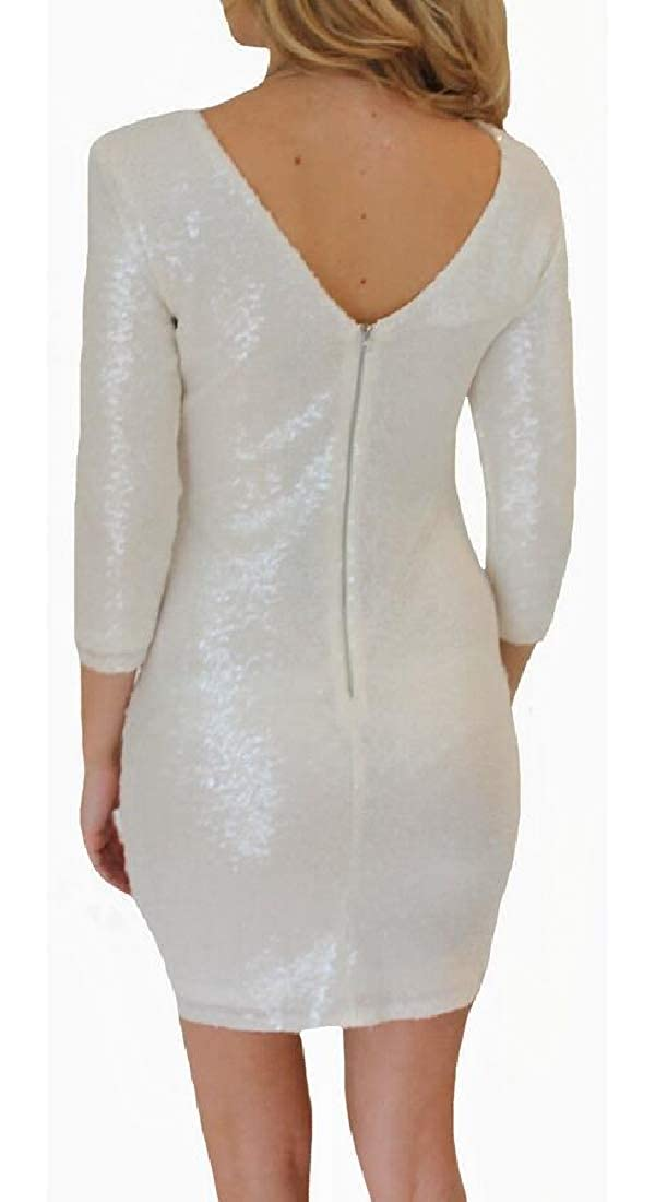 M/&S/&W Womens Backless Sparkle Sequin Long Sleeve Cocktail Party Bodycon Dress