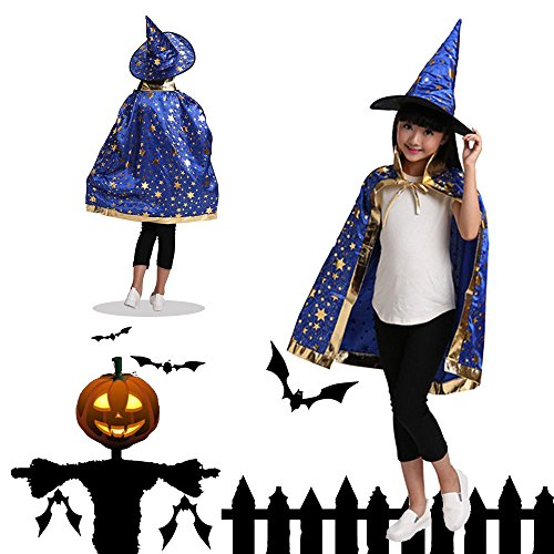 Best Costumes Friend Easy (Halloween Costumes Star Cloak, DiDaDi Cosplay Wizard Cape Robe Witch Pointy)