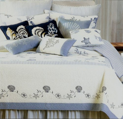 Treasures By the Sea Blue+White Twin Size Quilt Seashore Qui