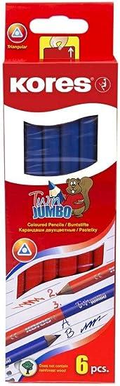 triangulaire bleu//rouge Kores crayon de couleur TWIN Jumbo
