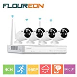 Floureon 4CH Wireless CCTV 1080P DVR Kit Outdoor Waterproof WIFI WLAN 1.3MP 720P IP Camera Security Video Recorder NVR System
