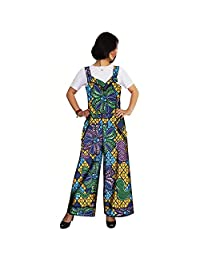 cad9a0cff1729 RealWax African Jumpsuit for Women Dashiki Plus Size Leg Pants Sleeveless  Rompers Vintage Overalls Beige