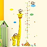 Monkey Giraffe Kids Height Animal Decal Decor Wall Sticker Chart Measure Growth
