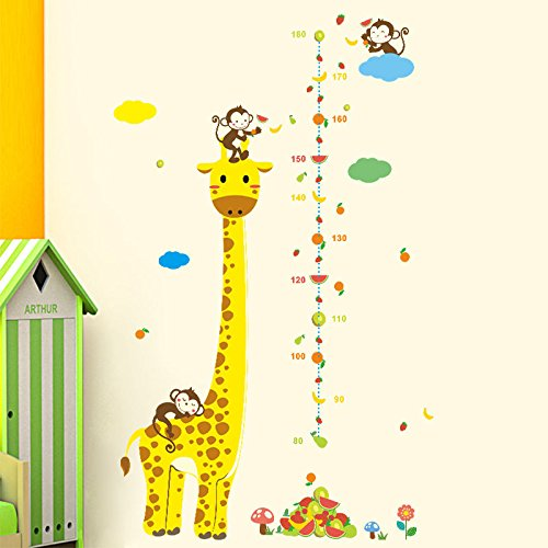 Monkey Giraffe Kids Height Animal Decal Decor Wall Sticker Chart Measure Growth by no!no!