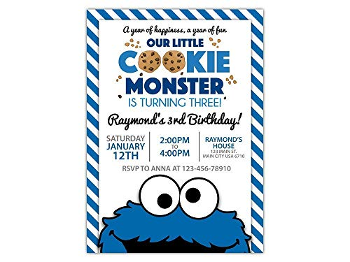 Custom Cookie Monster Birthday Party Invitations for Kids, 10pc-60pc 4