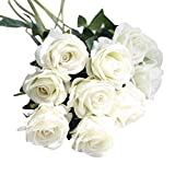 Hot Sale!!5Pcs Artificial Fake Roses,Flannel Flower Bridal Bouquet Wedding Party Home Decor (C)