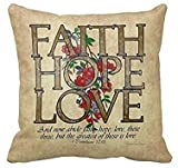 Faith Hope Love Bible Quote Famous Custom Throw Pillow Case Vintage Cushion Cover Pillowcase by Leiacikl22
