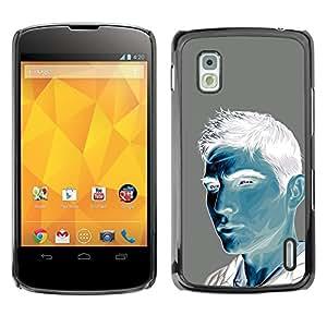 TopCaseStore / la caja del caucho duro de la cubierta de protección de la piel - Man Blue White Grey Painting Portrait - LG Google Nexus 4 E960