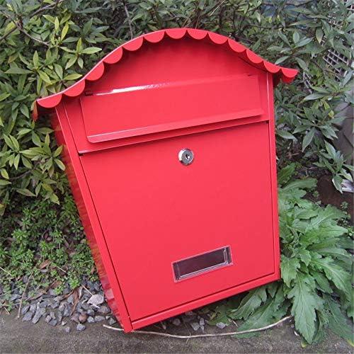 メールボッ アウトドア亜鉛メッキ金属の主要な商業農村家庭装飾&オフィス事業ウォールマウントロック可能なメールボックス 大型 郵便受け (Color : Red, Size : 25x10.5x37cm)