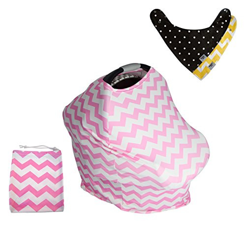 Baby Car Seat Covers, 5 in 1, Plus TWO FREE Baby Bandanas! FIVE COMBINATIONS to choose from! Infant Car Seat Cover, Nursing Cover, Shopping Cart Cover, Booster Seat Cover, Trendy Sca -