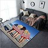 Vanfan Design Home Decorative Three beautiful young women wearing bikinis and wrapped in American flags on a sunny beach Modern Non-Slip Doormats Carpet for Living Dining Room Bedroom Hallway Office E