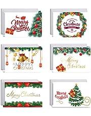 Orapink Kerstkaarten - Kerst Wenskaarten Pack van 6 Kaarten met Enveloppen - 6 Merry Christmas Card Designs Per Pack - Een kerstkaart met kerstwensen Thema