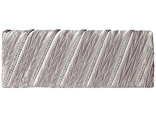 (Jessica McClintock Asymmetrical Diamond Silver Clutch)