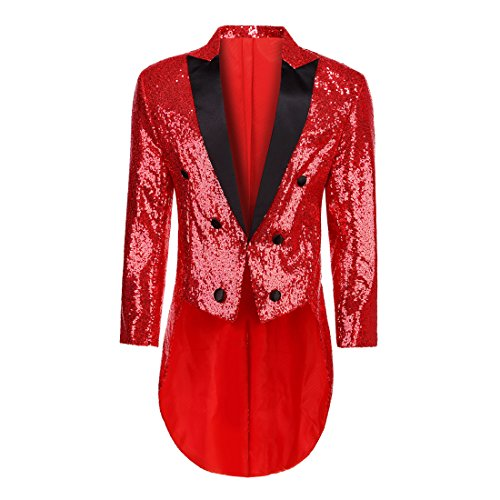 PYJTRL Mens Fashion Colorful Sequins Tailcoat Tuxedo (Red, L/42R) -