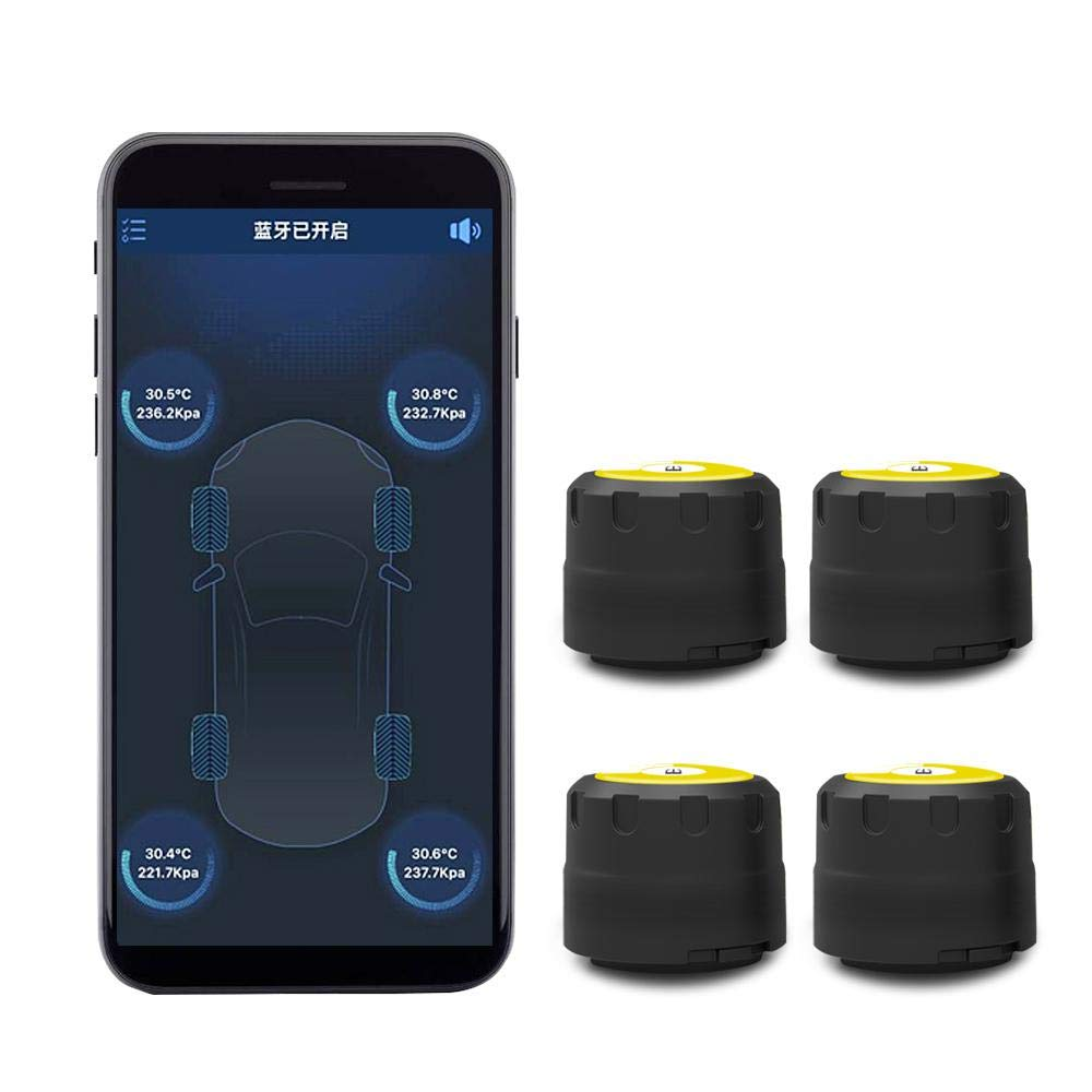 KOBWA Car Smart Tire Pressure Monitoring System-4 Pcs External Sensors, TPMS Alarm Warning System with APP, Bluetooth 4.0 Quick Connection for Android & IOS, Real-time High Monitor Temperature & Pressure