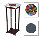 Square White Marble Top Accent Table Featuring the Choice of Your Favorite Superhero Themed Logo on the Top Shelf! FREE Coaster Included! (Avengers)