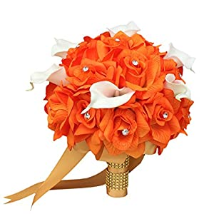 "10"" Bouquet:orange Artificial Roses, Feels Just Like Real Calla Lily with Rhinestones. 26"
