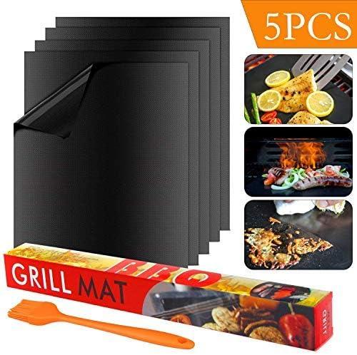Non Stick Oven Liner Teflon Cooking Mats Durable Easy to Clean Reusable Heat Resistantand Barbecue Sheets Suntop 5pcs BBQ Grill Mat Set,40cm*33cm Barbecue Sheets