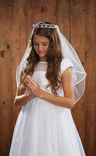 CB Catholic YT075 Pearl Tiara First Communion Veil