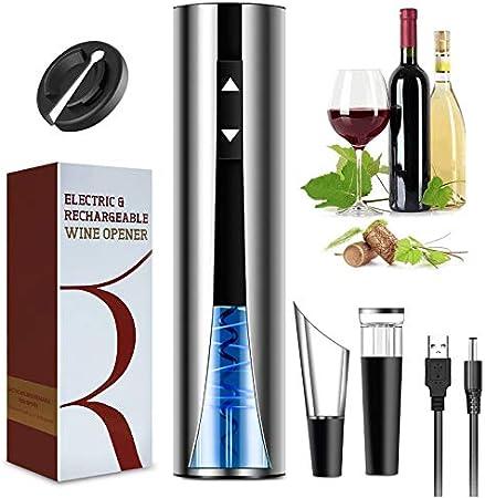 CHENAN Sacacorchos Eléctrico, Abridor Botellas Recargable Abridor de Vino Electrico con Cortacápsulas, Vertedor, Tapón de Vino de Vacío y Cable de USB