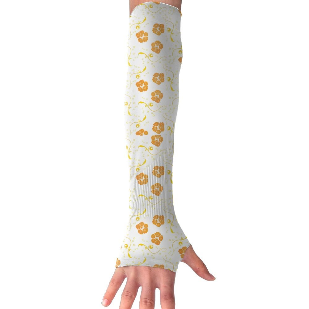 LANGEGE Floral Pattern UV Sun Protection Cooling Arm Sleeves Cover Arms Sports Gloves For Men Women