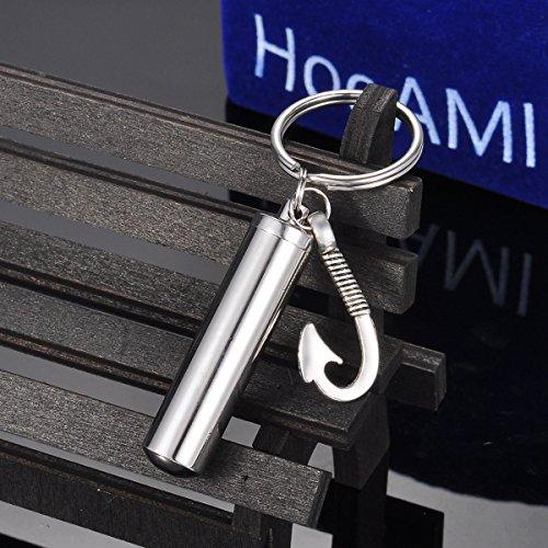 HooAMI Fish Hook Charm Memorial Urn Necklace Cremation Ashes Keepsake Pendant