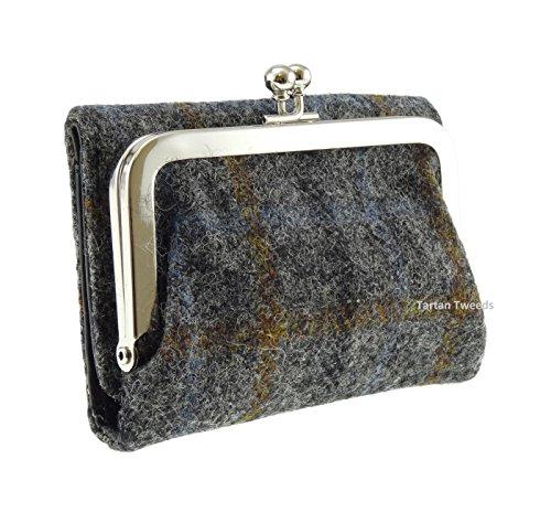 Da donna, colore: grigio a quadri Rhum Harris Tweed, a portafoglio, con chiusura a portafoglio LB2004 COL10