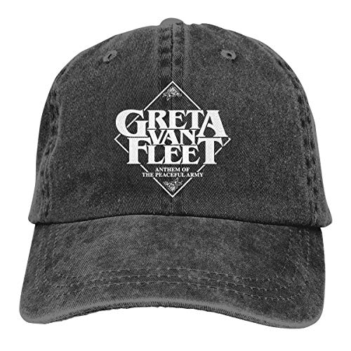 Greta Van Fleet Hat Unisex Denim Hat Fashion Can Adjust Denim Cap Baseball Cap Black ()