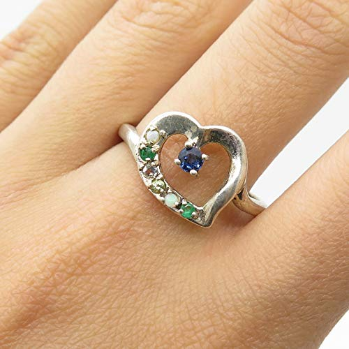 Lenox 925 Sterling Silver Real Multicolor Gemstone Heart Ring Size 9 3/4 Jewelry by Wholesale Charms ()