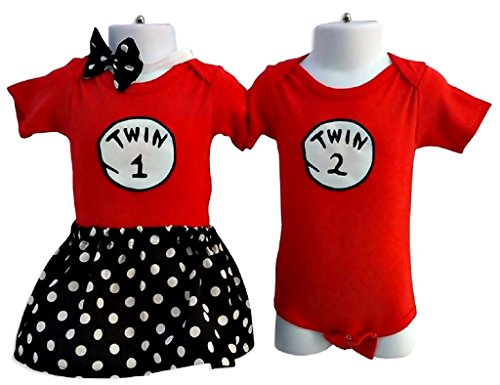 Made Outfit (Boy Girl Twin Outfits Twin 1 Twin 2 Perfect Pairz USA Made Outfit)