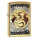 Zippo Custom Lighter - Ann Stokes Artist Dragon w/ Scales Design High Polish Brass