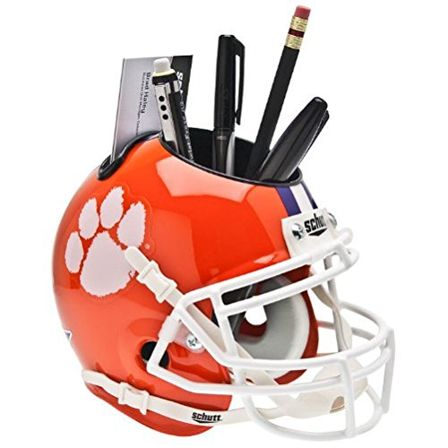 CLEMSON TIGERS NCAA Schutt MINI Football Helmet OFFICE DESK CADDY