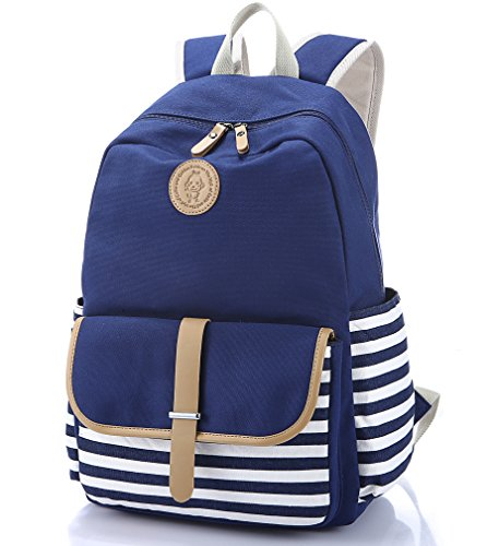 Canvas Laptop Bag Cute School Backpack College Bookbag Shoulder Daypack Casual Travel Bags for Teen Girls and Women