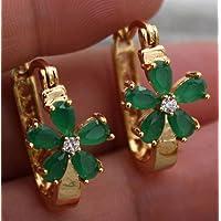 Kumpoon 18K Yellow Gold Filled - Flower Clover Emerald Jade Topaz Gemstone Hoop Earrings