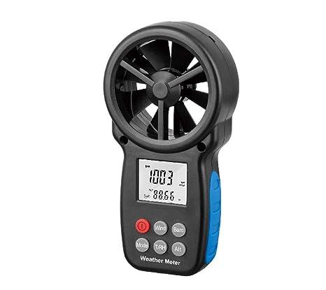 Estación meteorológica Sensor de Velocidad del Viento, Máquina multifunción Led indicador Digital Termómetro Anemómetro Portátil