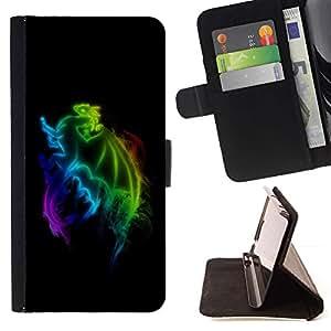 For HTC One M7 Case , Rainbow Dragon- la tarjeta de Crédito Slots PU Funda de cuero Monedero caso cubierta de piel