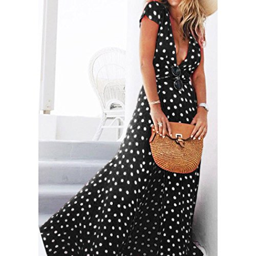 Hemlock Long Wrap Dress, Women Floor Length Chiffon Dress V Neck Dress (L, Black) -