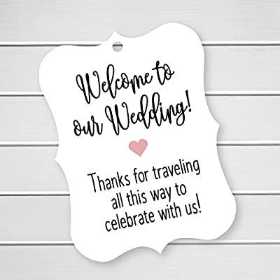 24 ct Hotel Welcome Bag Tags, Welcome Wedding Tags, Destination Wedding Tags (EC-369)