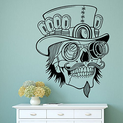 Boodecal Crazy Scientist Sugar Skull Wall Decals Stickers for Day of Dead Bedroom Lobby 22.8 Inches x 28.9 Inches]()
