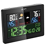 aom Indoor Outdoor Weather Station, Color Weather Forecast with Temperature Humidity Alarm Clock, Wireless Transmission Sensor