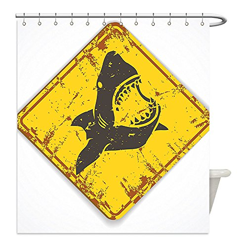 Shark Boy Costume At Walmart (Liguo88 Custom Waterproof Bathroom Shower Curtain Polyester Shark Caution Shark Sign Sharp Teeth Animal Ocean Danger Do Not Swim Illustration Earth Yellow Grey Decorative bathroom)