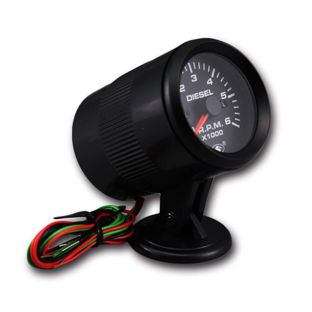MOTOR METER RACING Universal Tachometer for Alternator 2 6000 RPM Black Dial on Dash